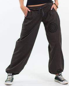Kalhoty Ayshu – hnědé s černou