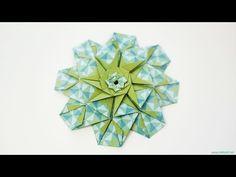 How to fold: Origami Mandala Poty - Criação Lidiane Siqueira Diy Origami, Gato Origami, Origami Star Paper, Origami Cards, Origami Paper Folding, Origami Envelope, Origami And Kirigami, Origami Ball, Origami Boxes