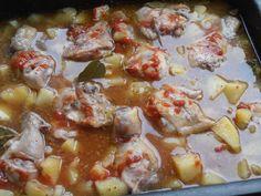 Pulpe de pui cu cartofi la cuptor - CAIETUL CU RETETE Romanian Food, Romanian Recipes, Hawaiian Pizza, Curry, Ethnic Recipes, Curries
