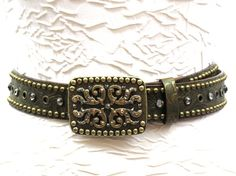 Rusty Spur Couture Leatherock Gold and Green Safari Floral Belt - LG8582, ,