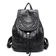 2016 New Arerive Genuine Leather Backpacks Fashion Black Sheepskin Women Backpack  Bags Rivet Knitting Travl Backpacks · School Bags For ... 90152886ea