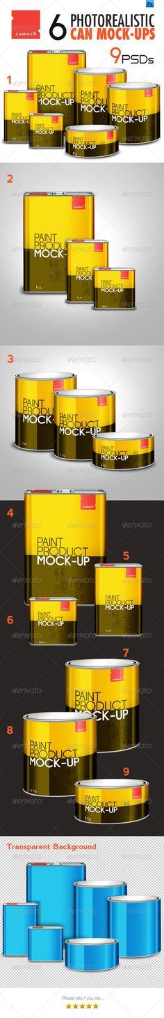 6  Can/Tin Mock-ups for Paint related products by YRaBD 6 different package designs   3 group images (Total 9 high resolution PSD files), sutable for paint or paint related products. Ver
