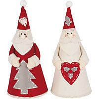 Homespun Felt Assorted Red and Cream Cone Santa #HomebaseMumsnetXmas #Christmas #Festive