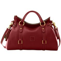 Dooney & Bourke Medium Satchel ($378) ❤ liked on Polyvore featuring bags, handbags, purses, accessories, carteras, red bag, zip handbag, medium satchel, zipper handbag and red purse