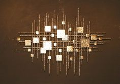 For above either fireplace: Abstract Metal Sculpture Wall Art - Mid Century Brutal Gold Rods Eames Jere Style - eBay