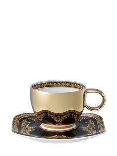 VERSACE - MEDUSA TEA CUP & SAUCER - GOLD/BLACK