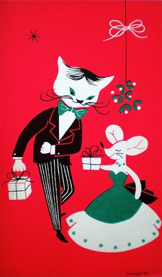 Vintage Mid-Century Mod Christmas Card ~ Mouse Giving Dapper Cat a Gift