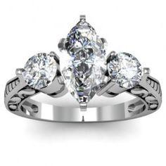Marquise & Round Cut 3 Stone Diamond Engagement Ring