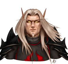 Blood Knight by Aerwindale on DeviantArt Elves Fantasy, Fantasy Male, Fantasy Armor, Medieval Fantasy, Fantasy Fairies, World Of Warcraft Characters, Dnd Characters, Fantasy Characters, Paladin