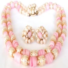 Vintage Japan Chunky Pink Art Glass Pearl 2 Strand Necklace Earring Set image