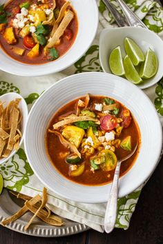 The Bojon Gourmet: Roasted Vegetable Sopa Azteca with Sweet Corn and Zucchini Roasted Summer Vegetables, Roasted Tomatoes, Soup Recipes, Cooking Recipes, Yummy Recipes, Vegan Recipes, Bojon Gourmet, Zucchini, Sweet Corn
