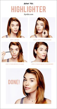 A #tutorial from celebrity #makeup artist Lauren Andersen for exactly how and wear to apply highlighter. // #beauty #makeuptips