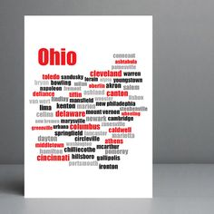 Map of Ohio Cities & Towns Typography Art by silvermoonprints, $10.00 #etsy #ohio