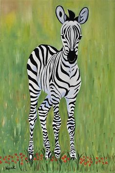 Baby Zebra Painting by Dorota Nowak - Baby Zebra Fine Art Prints and Posters for Sale