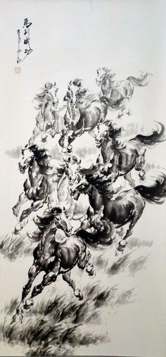 Hand Paint Oriental Art Ink Brush Chinese Scroll Painting Horses Signed 2