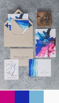 Wedding Stationery - color palette of clean crisp white, cobalt blue an a touch of fuschia Found on Style Me Pretty. #colorpalettes #weddingstationery #fuschia