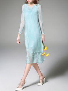 Embroidered Silk Two Piece Midi Dress