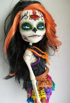 Monster high Custom day of the dead skelita ooak by AdeCiroDesigns, $45.00
