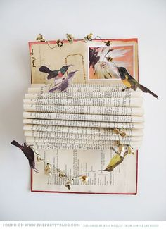 paper Birds & book page flowers on a folded book - Perfect!