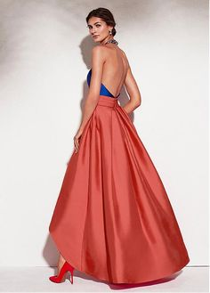 Enchanting Satin Halter Neckline Backless Hi-lo A-line Prom Dress With Beadings & Pockets · lass · Online Store Powered by Storenvy A Line Prom Dresses, Dressy Dresses, Ball Dresses, Elegant Dresses, Beautiful Dresses, Ball Gowns, Party Gowns, Party Dress, Estilo Boho