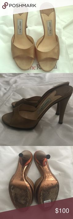 """Jimmy Choo gold leather heels These were a purchase from """"TheRealReal""""  a final sale item and they're to small for me. Gold leather sz 38 maybe runs narrow and 1/2 size small? I'm a 7.5 they are well worn on the soles but the leather is in good condition. Jimmy Choo Shoes Sandals"""