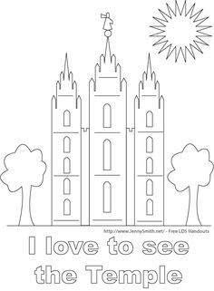 Children visit the Temple LDS Primary coloring page Other