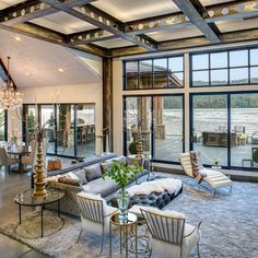 Who needs wood beams when you can have metal beams?! By Selle Valley Construction Inc.... - Interior Design Ideas, Interior Decor and Designs, Home Design Inspiration, Room Design Ideas, Interior Decorating, Furniture And Accessories