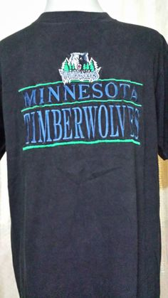 Vintage Black Tshirt 90s Embroidered Minnesota Timberwolves Team Large 3fe447954