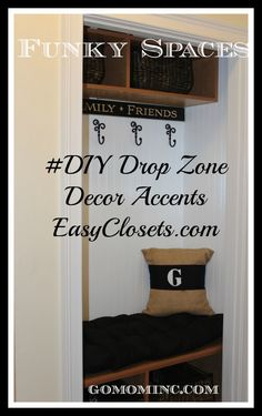 I so love how this space turned out with the help of EasyClosets.com! Funky Spaces #DIY Drop Zone Decor and Accents | gomominc.com #spon