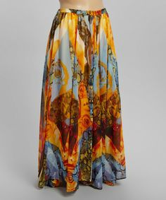 Another great find on #zulily! Blue & Yellow Rose Collage Maxi Skirt - Plus by Meetu Magic #zulilyfinds