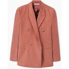 MANGO Contrast buttons blazer ($130) ❤ liked on Polyvore featuring outerwear, jackets, blazers, red blazer jacket, mango blazer, mango jackets, red jacket and one-button blazer