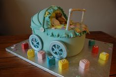 Vintage pram, baby shower, Celebration cake