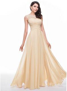 Corte A/Princesa Escote redondo Barrer/Cepillo tren Chifón Vestido de baile de promoción con Bordado Apertura frontal (017041118) - JJsHouse
