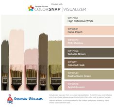 I found these colors with ColorSnap® Visualizer for iPhone by Sherwin-Williams: High Reflective White (SW 7757), Naive Peach (SW 6631), Pink Shadow (SW 0070), Suitable Brown (SW 7054), Coconut Husk (SW 6111), Ruskin Room Green (SW 0042), Appleblossom (SW 0076).