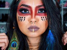 48 ideas fitness photoshoot makeup make up - Indian Makeup Halloween, Indian Halloween Costumes, Native American Halloween Costume, Halloween Party, Krieger Make-up, Native American Makeup, Native American Face Paint, Makeup Carnaval, Theatrical Makeup