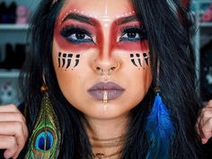 48 ideas fitness photoshoot makeup make up - Indian Makeup Halloween, Indian Halloween Costumes, Native American Halloween Costume, Halloween Party, Native American Makeup, Native American Women, American Indians, Native American Face Paint, Krieger Make-up