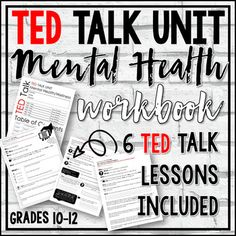 This TED Talk Unit (6 TED Talk lessons) is appropriate for Psychology, Social Studies, English, or Health courses.Six TED Talk lessons included in this bundle focus on the topic of MENTAL HEALTH and Wellness.PLEASE PREVIEW TED TALKS BEFORE VIEWING WITH YOUR STUDENTS . Every school has a different cu...