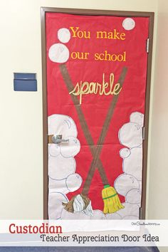 Cool Custodian or Janitor Door Decorating Idea featured with 21 Teacher Appreciation Door Ideas! {OneCreativeMommy.com} So many great ideas for your teacher!