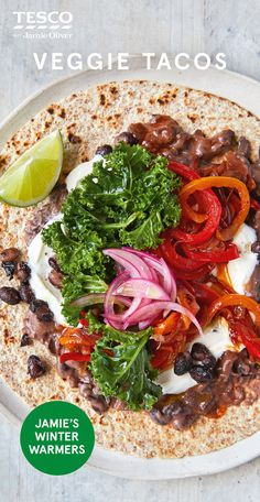 Jamie Oliver's veggie tacos recipe with colourful veg and beans is a great Friday night feast. Head to Tesco Real Food for plenty more healthy dinner ideas. Scottish Recipes, Turkish Recipes, Romanian Recipes, British Recipes, Healthy Taco Recipes, Vegetarian Recipes, Cooking Recipes, Healthy Food, Chicken Recipes