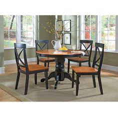 5 Piece Round Pedestal Dining Table - Cottage Oak