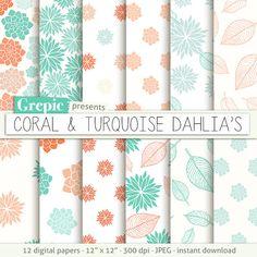 "Dahlia flower digital paper: ""CORAL & TURQUOISE DAHLIAS"" clip art floral patterns nature and dahlias leaves with dahlia flowers backgrounds #clipart #texture"