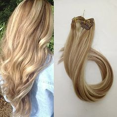 Clip in Hair Extensions Mixed Color 15 Inch Full Head Real Hair Extensions 70G Sliky Straight Human Hair Pieces with Clips, 7 Pcs Per Set, #12/613