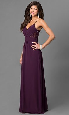 <img> Image of long eggplant purple prom dress with lace back. Style: Detail Image 1 Source by laurenwlodarski - Eggplant Bridesmaid Dresses, Dark Purple Bridesmaid Dresses, Dark Purple Dresses, Eggplant Dress, Bridesmaids, V Neck Prom Dresses, Glam Dresses, Evening Dresses, Lace Dress