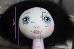 Taya Toy: Мастер-класс лицо куклы There are several photos if you click through showing the process of making a face. Thought this snap might be useful as it gives dimensions in proportion for the facial features. Doll Crafts, Diy Doll, Doll Clothes Patterns, Doll Patterns, Doll Face Paint, Doll Eyes, Sewing Dolls, Dolls Dolls, Doll Tutorial