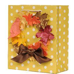 leaf wreath on gift bag
