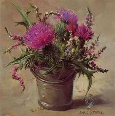 Scottish Thistles - Blank Card | Mill House Fine Art – Publishers of Anne Cotterill Flower Art