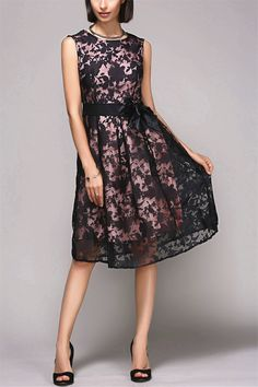 $21.01 Elegant Round Neck Sleeveless Floral Print Organza Dress For Women