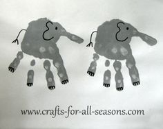 Handprint Crafts to Make with Your Kids Zoo Animal Crafts, Zoo Crafts, Daycare Crafts, Baby Crafts, Toddler Art, Toddler Crafts, Footprint Art, Elephant Footprint, Preschool Crafts