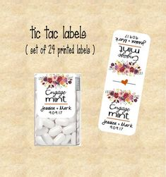 Engage Mints Tic Tac Labels Engagement Favor Stickers Customized Set Of 24 Printed Tic78905 Bo Fl Fall Flowers