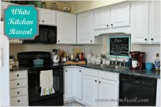 cream cabinets with black appliances kitchen | White Kitchen Reveal ~ A Before & After - Mom 4 Real